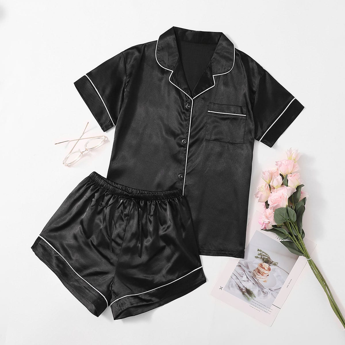 Атласная пижама с узлом
