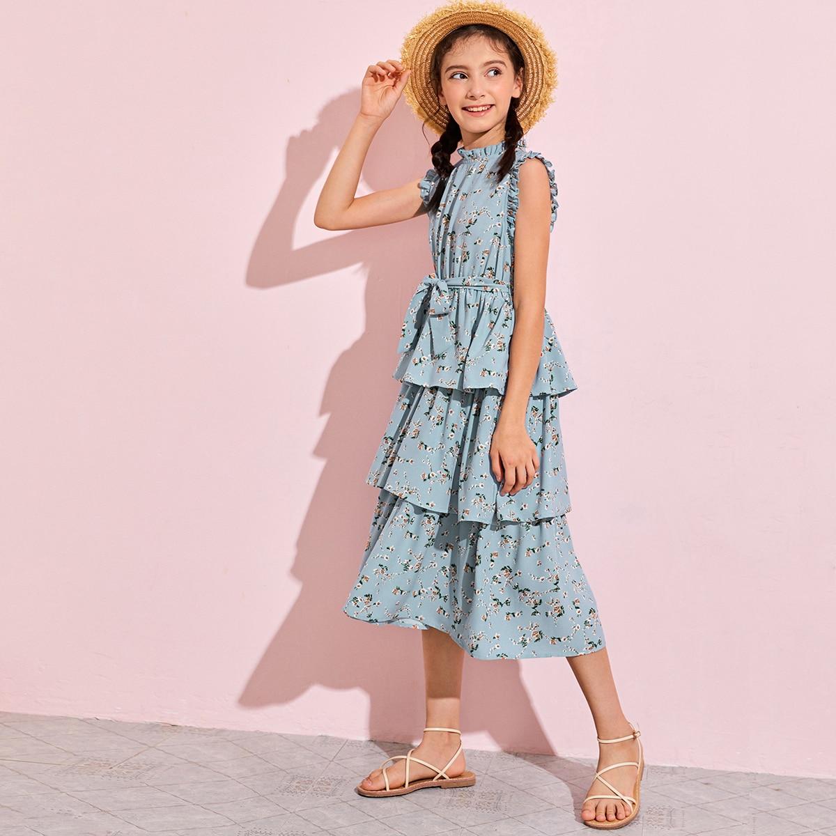 Цветочное платье с поясом для девочек