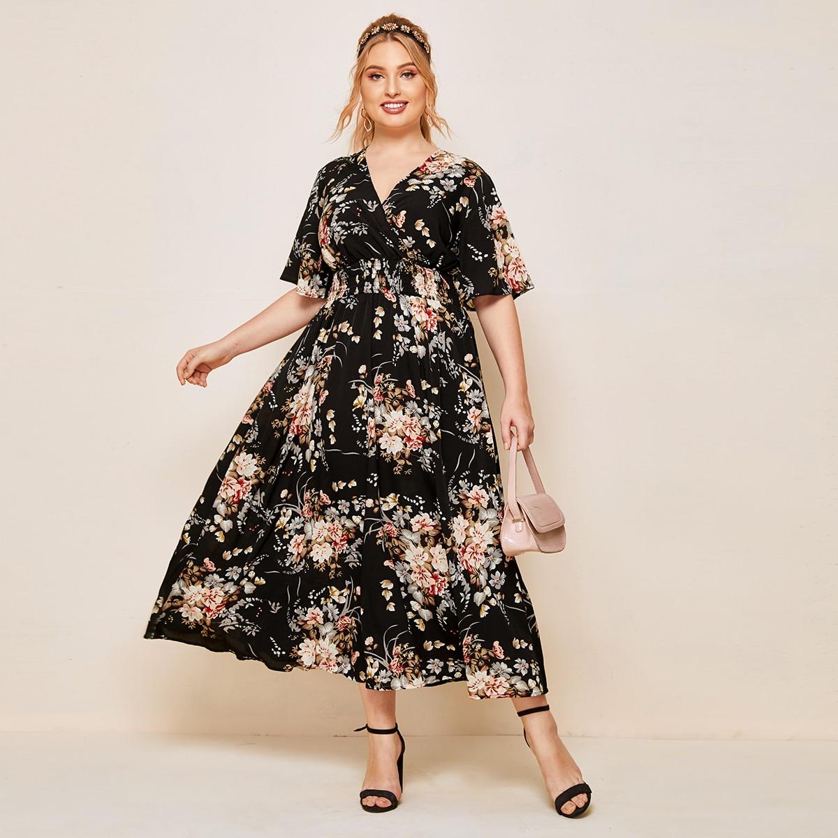 Plus Surplice Neck Shirred Waist Floral Dress