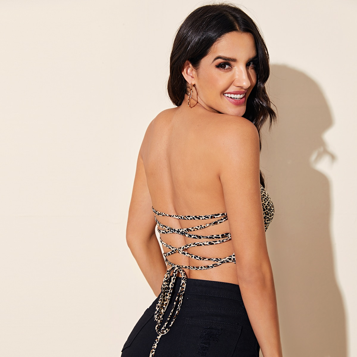 Crisscross Backless Leopard Crop Tube Top, SHEIN  - buy with discount