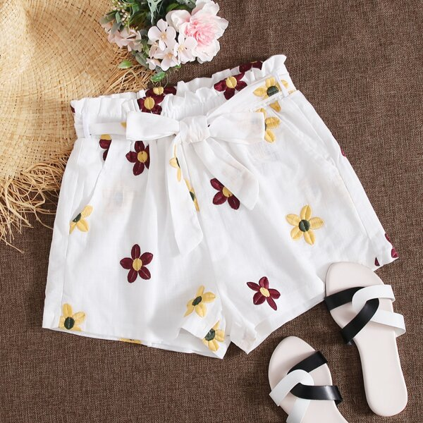 Plus Floral Embroidered Belted Shorts, White