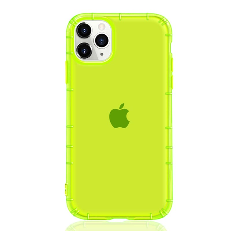 1pc Neon Green Solid iPhone Case, Clear lime green
