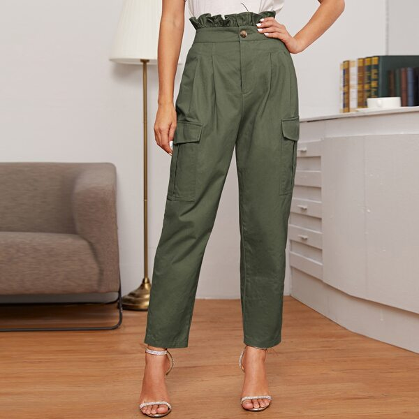 Ruffle Waist Flap Pocket Patched Pleated Detail Pants, Army green