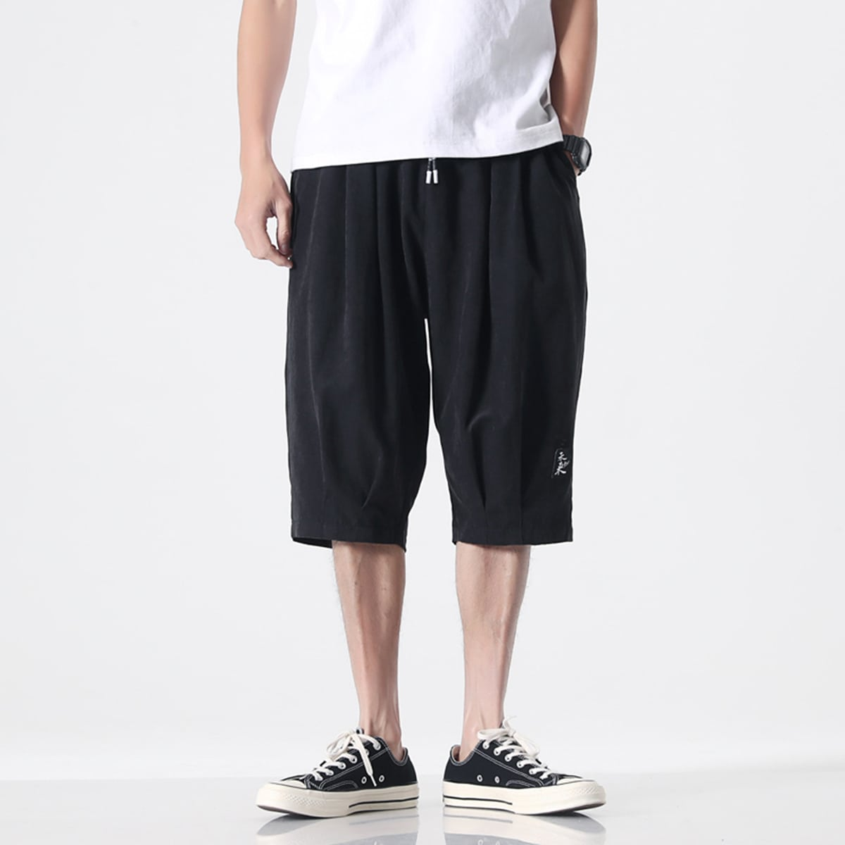 Shorts de cintura con cordón con parche