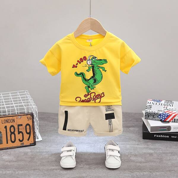 Toddler Boys Cartoon And Letter Graphic Tee & Shorts, Multicolor