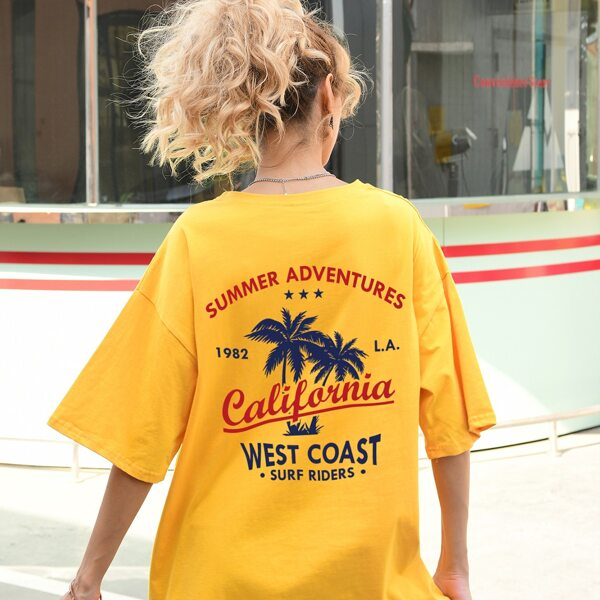 Letter & Palm Tree Print Oversized Tee, Yellow