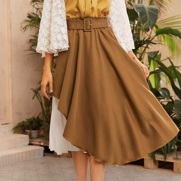 Paperbag Waist Buckle Belted Pleated Panel 2 In 1 Skirt, Brown
