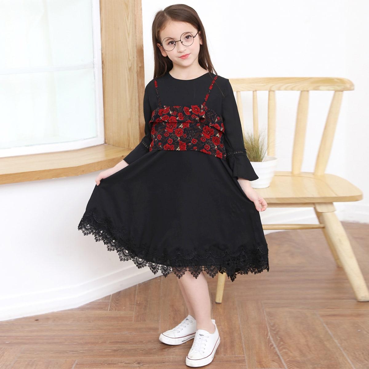 Шифоновое платье с кружевом и цветочная майка для девочек