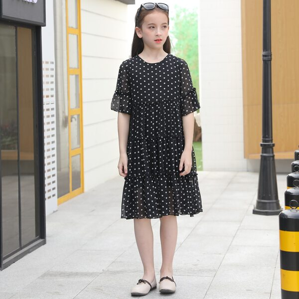 Girls Polka Dot Print Layered Frilled Smock Dress, Black