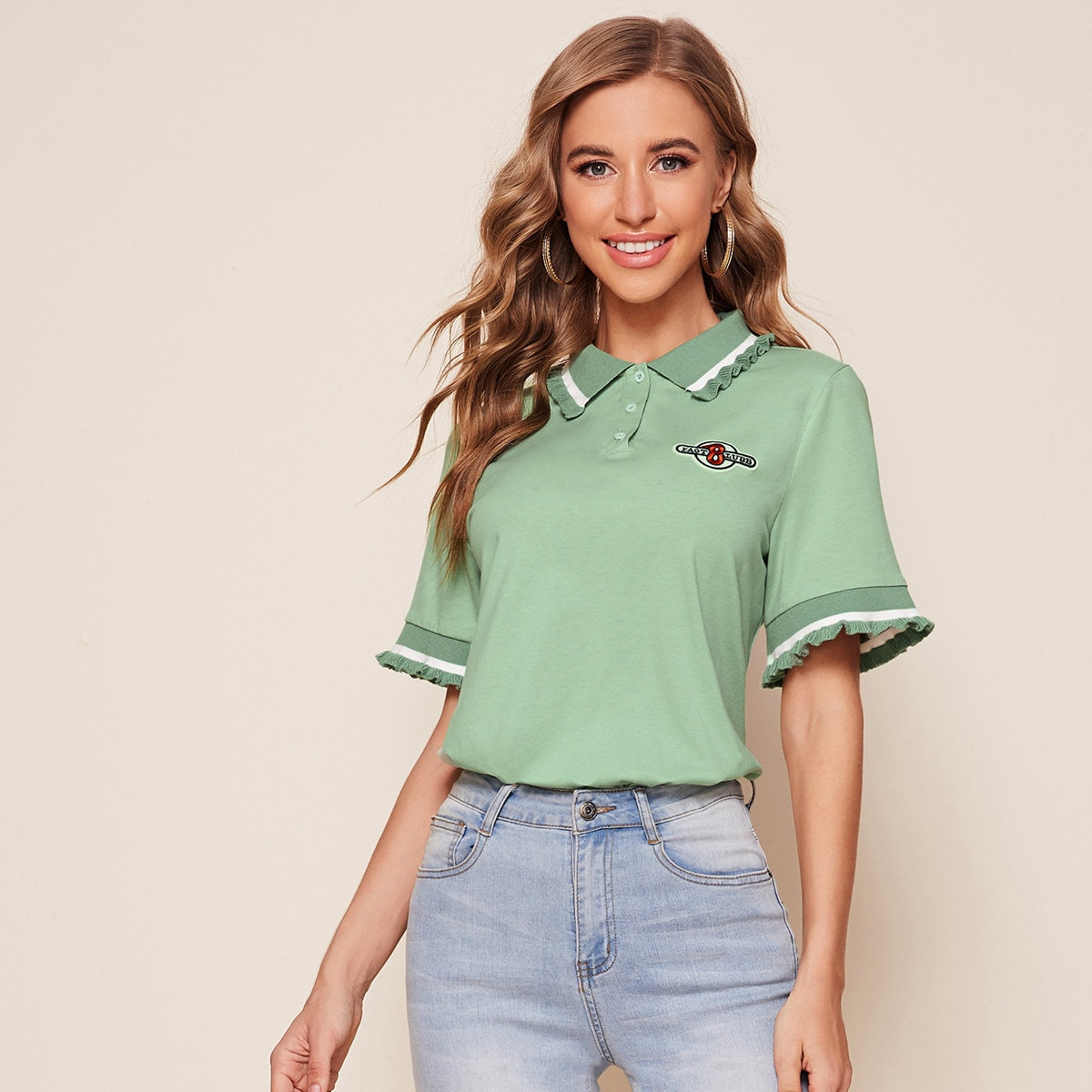 Рубашка-поло с полосками и оригинальной отделкой