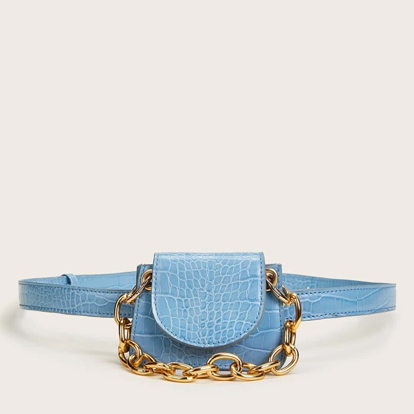 Mini Croc Embossed Chain Handle Satchel Bag, Blue
