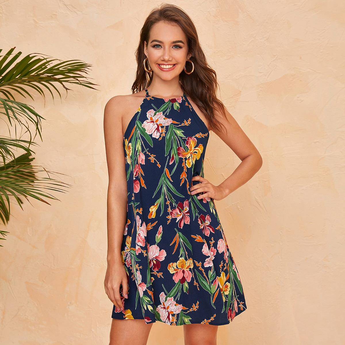 Keyhole Back Floral Print Halter Dress