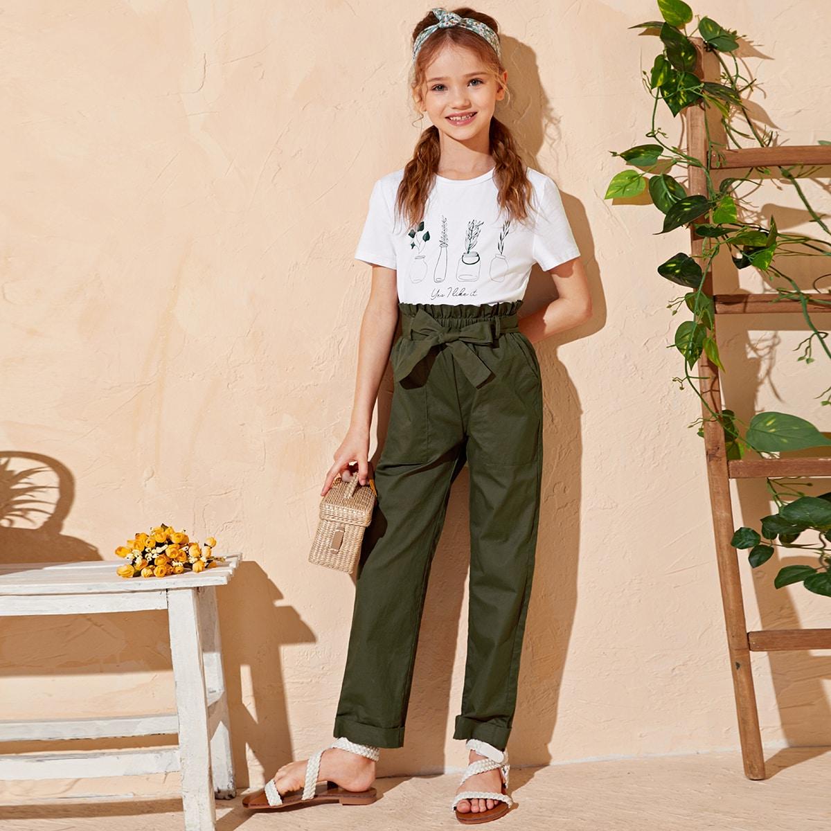 Топ с принтом растения и брюки с поясом, присборенной талией для девочек