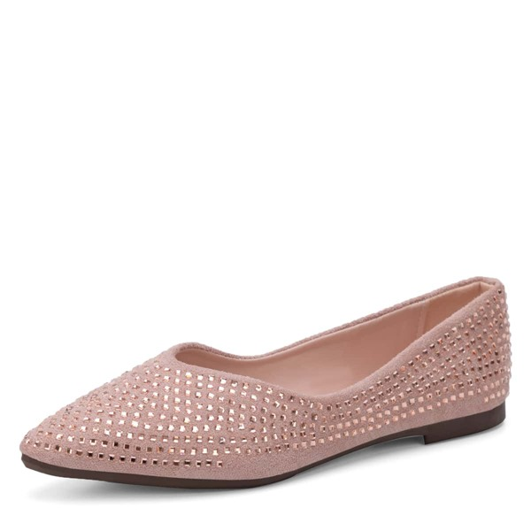 Rhinestone Decor Slip On Flats, Pink