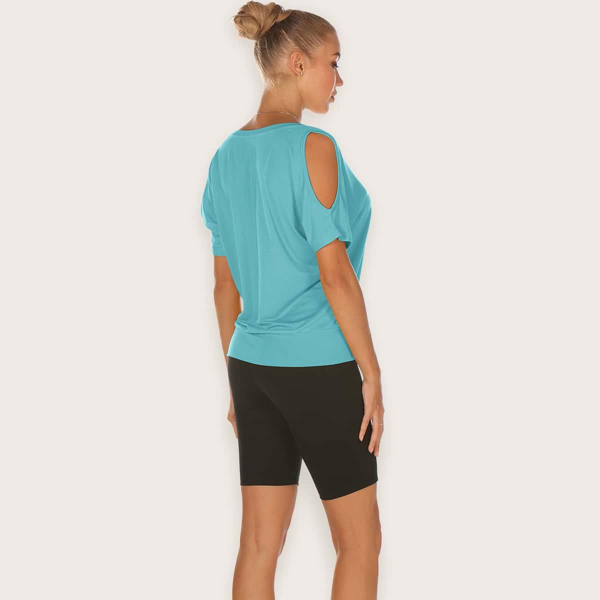 Спортивная футболка с открытыми плечами
