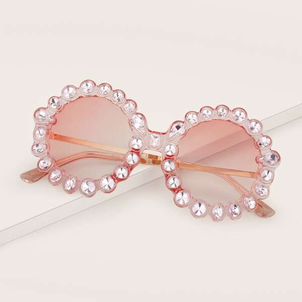 Rhinestone Engraved Sunglasses, Pink
