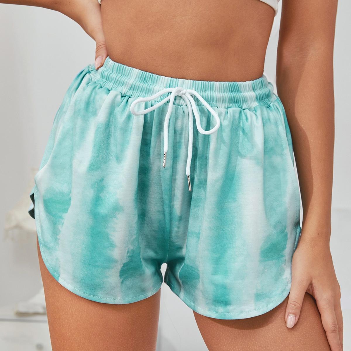 Munt groen Casual Tie dye Lounge bottoms Koord