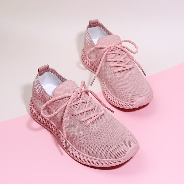 Lace-up Front Knit Wide Fit Sneakers, Pink