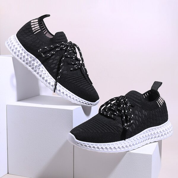 Lace-up Front Knit Wide Fit Sneakers, Black