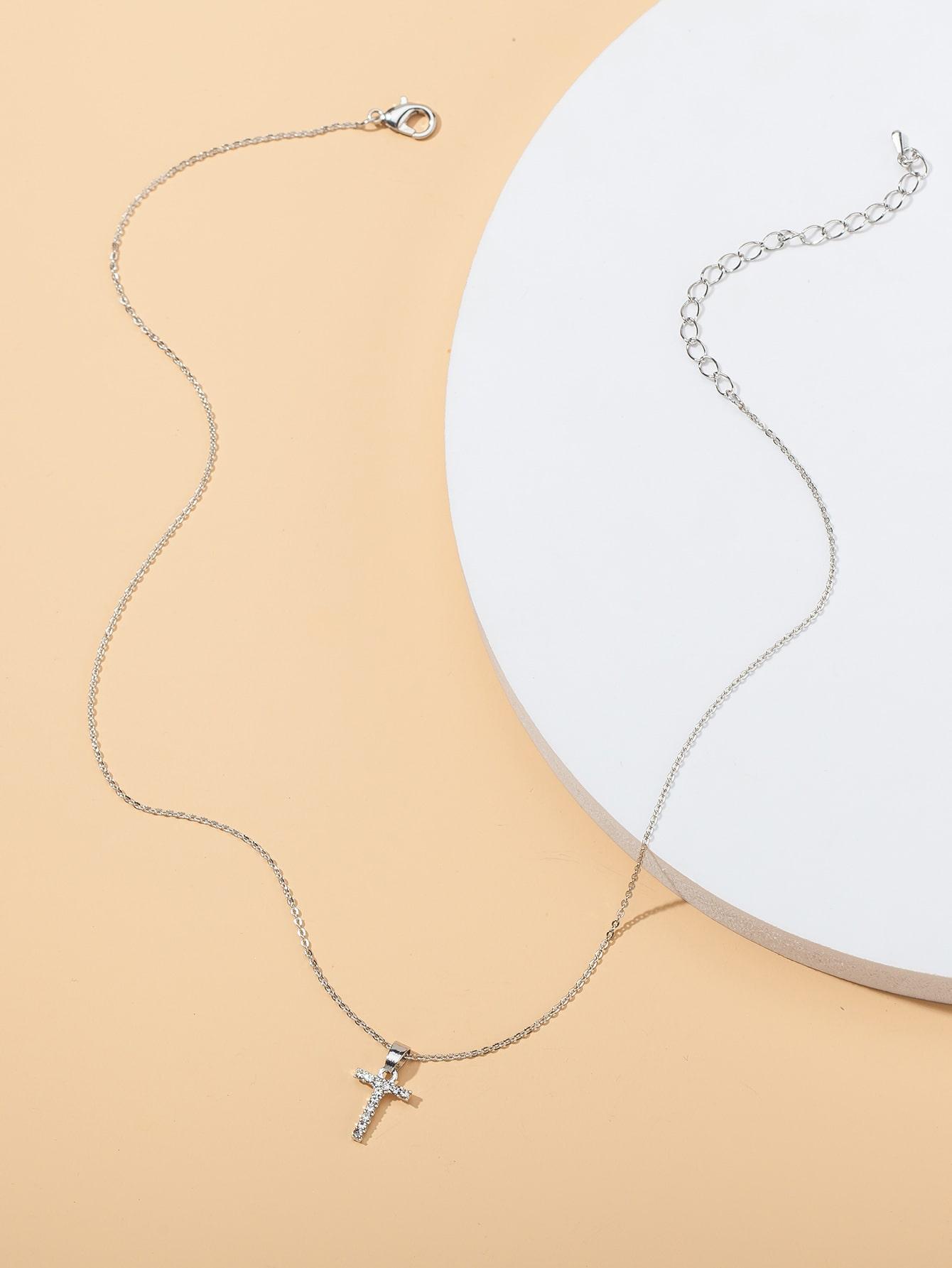 Rhinestone Letter Charm Necklace thumbnail