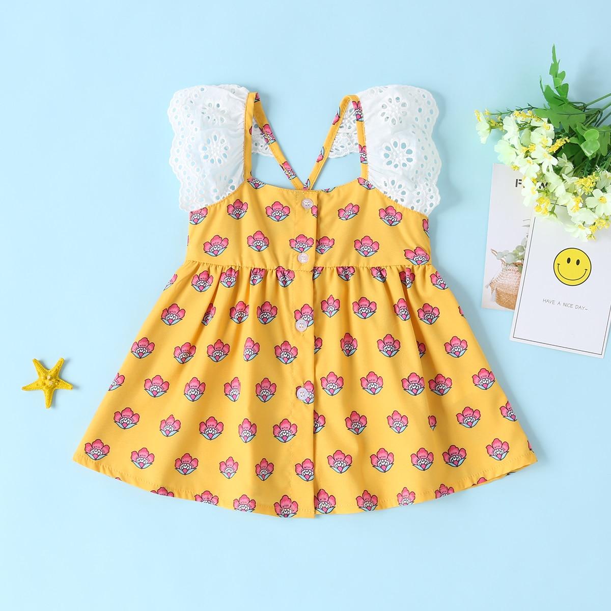 Платье с вышивкой и цветочным принтом для девочек от SHEIN