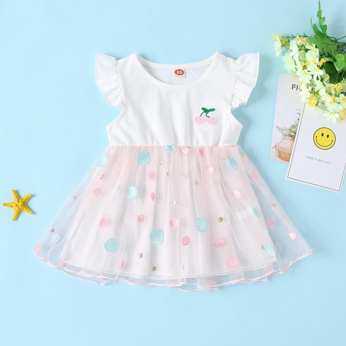 Сетчатое платье с вышивкой вишни для девочек от SHEIN