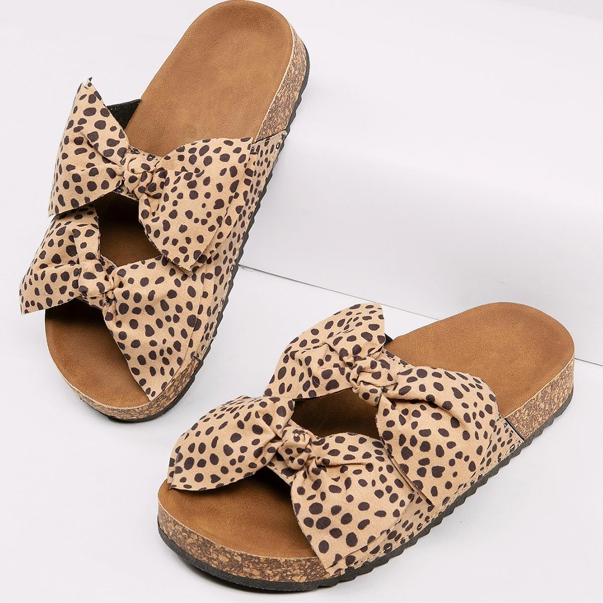 Гепардовые сандалии с бантом