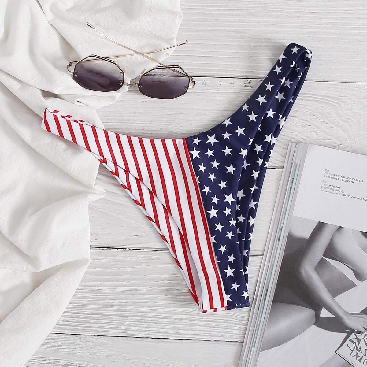 """Плавки бикини с высоким вырезом и принтом """"американский флаг"""