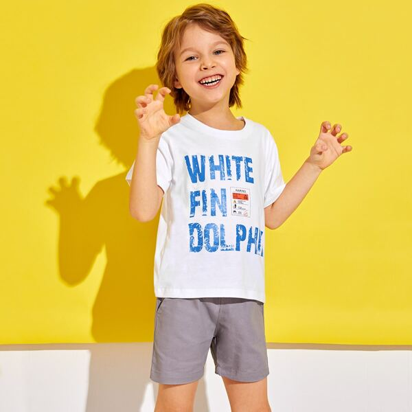 Toddler Boys Letter Graphic Tee, White