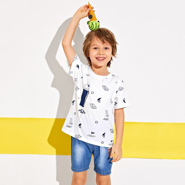 Toddler Boys Cartoon Graphic Short Sleeve Tee, White
