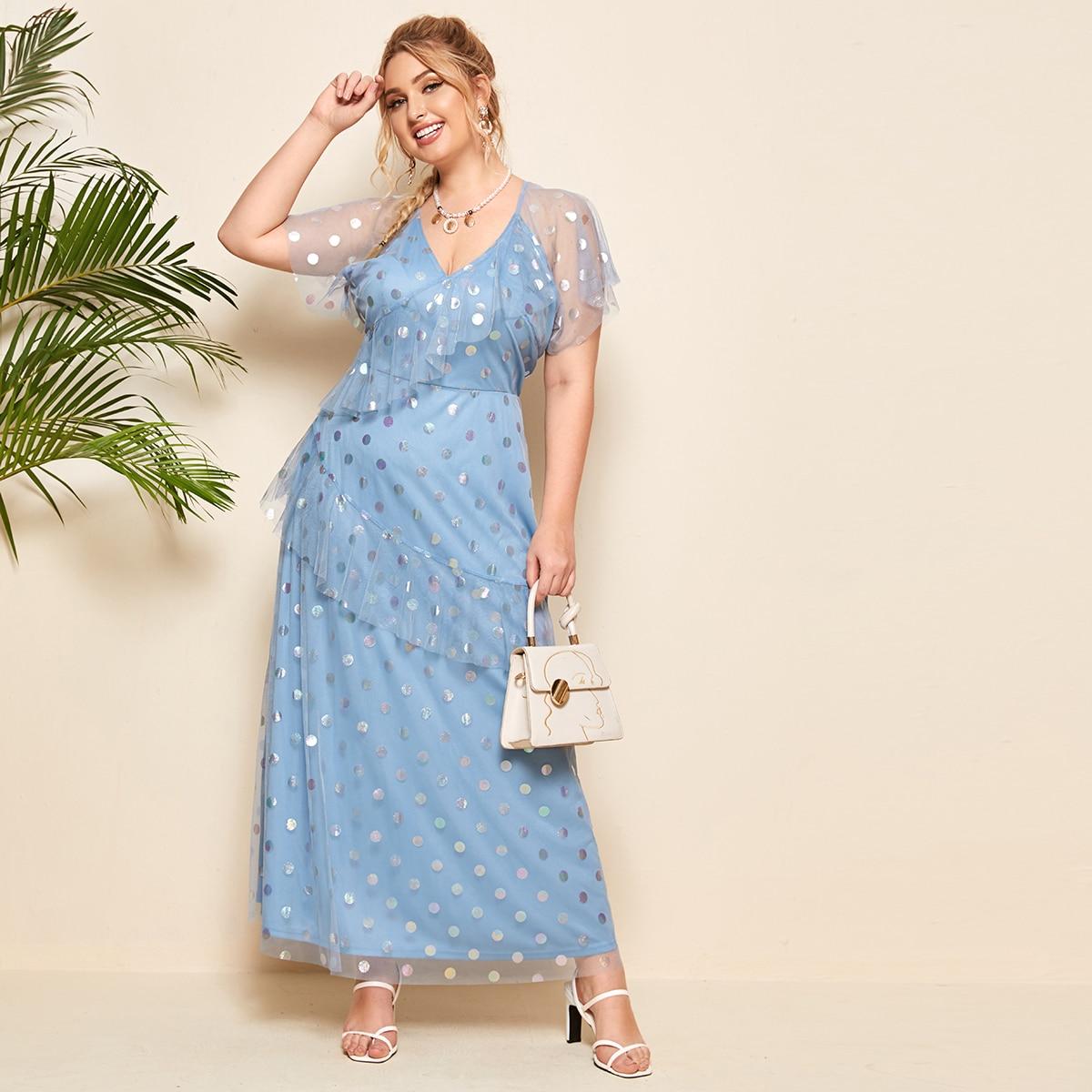 Сетчатое платье в горошек с оборками размера плюс
