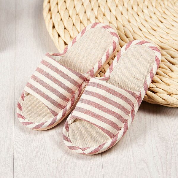 Open Toe Striped Graphic Slippers, Red