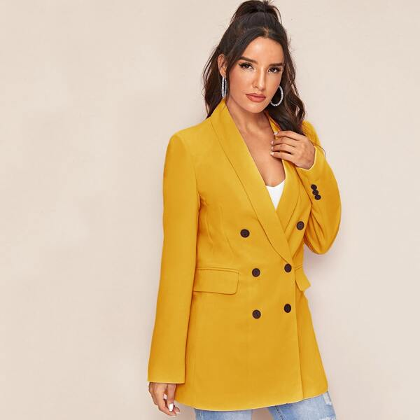 Shawl Neck Double Breasted Blazer, Mustard yellow