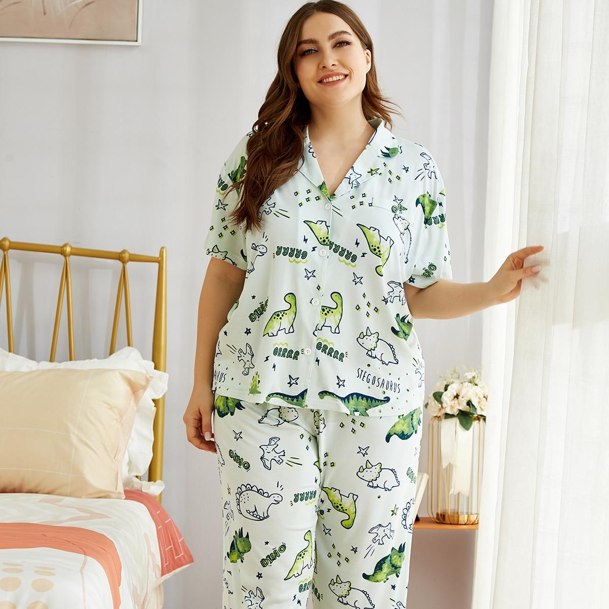 shein Munt groen Schattig Spotprent Grote maten pyjama sets