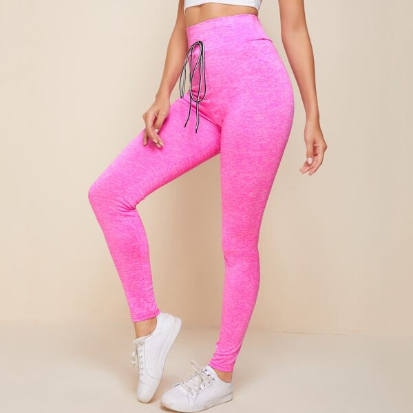 Tied Wide Waistband Leggings, Pink