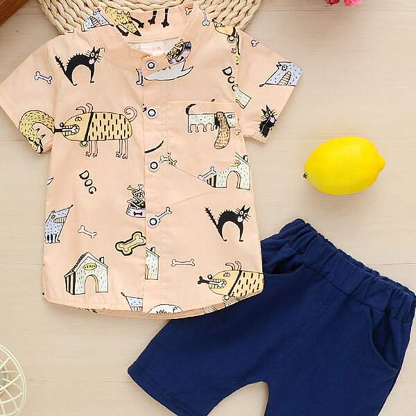 Toddler Boys Stand Collar Cartoon Graphic Shirt & Shorts, Multicolor
