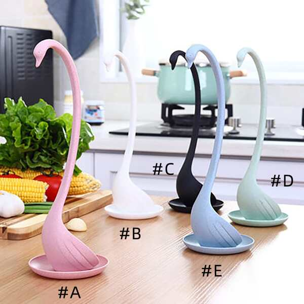 1pc Swan Shaped Soup Spoon With Tray, Multicolor