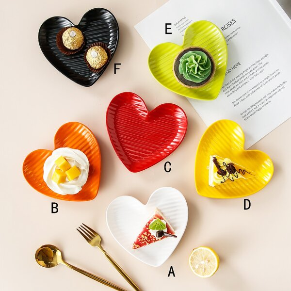 1pc Heart Shaped Snack Tray, Multicolor