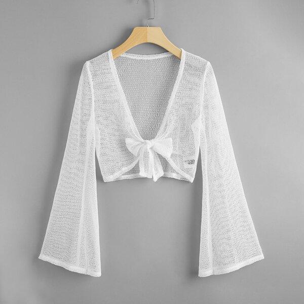 Bell Sleeve Knot Front Crochet Kimono, White