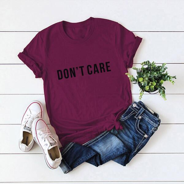 Letter Graphic Round Neck Tee, Maroon