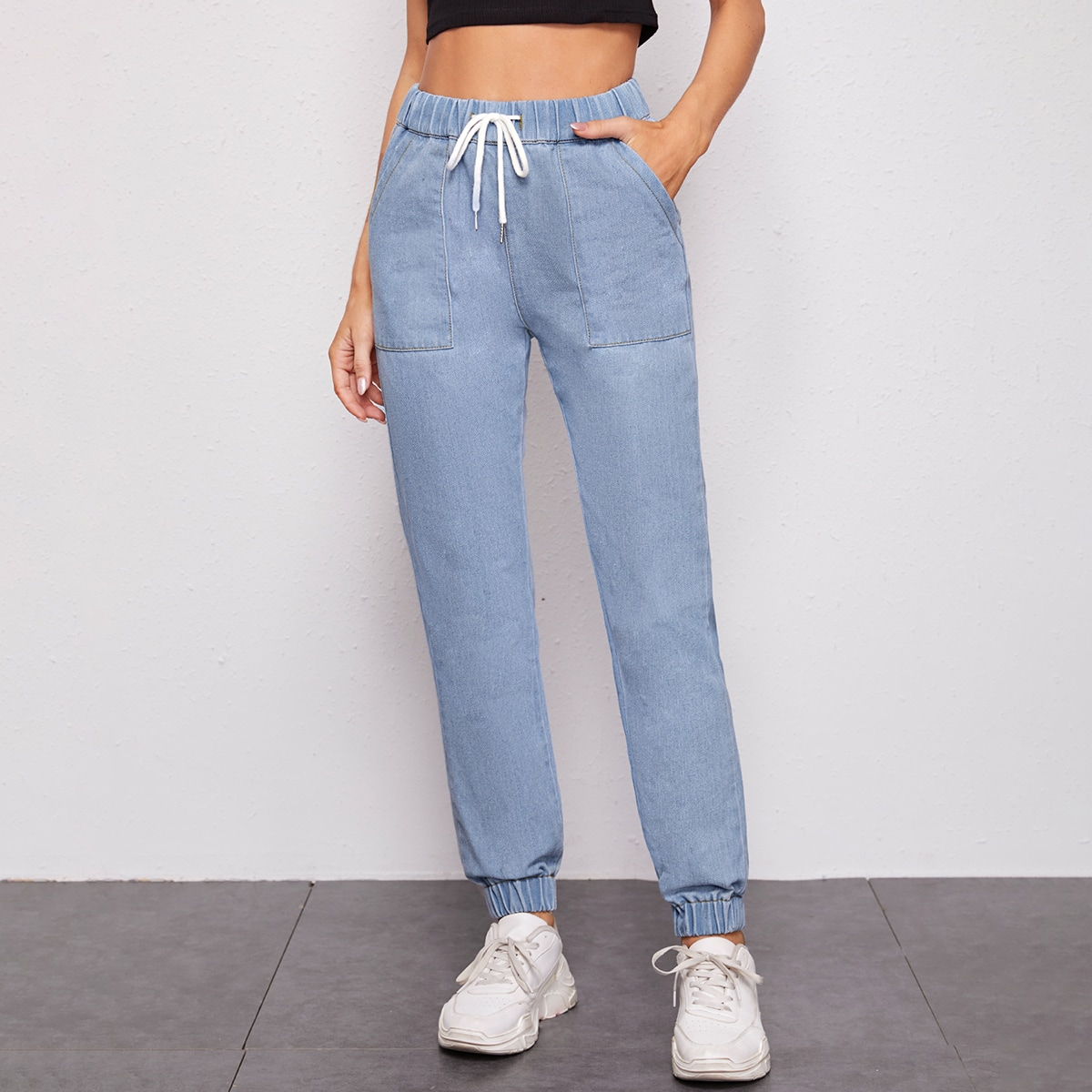 High Waisted Patch Pocket Jogger Jeans