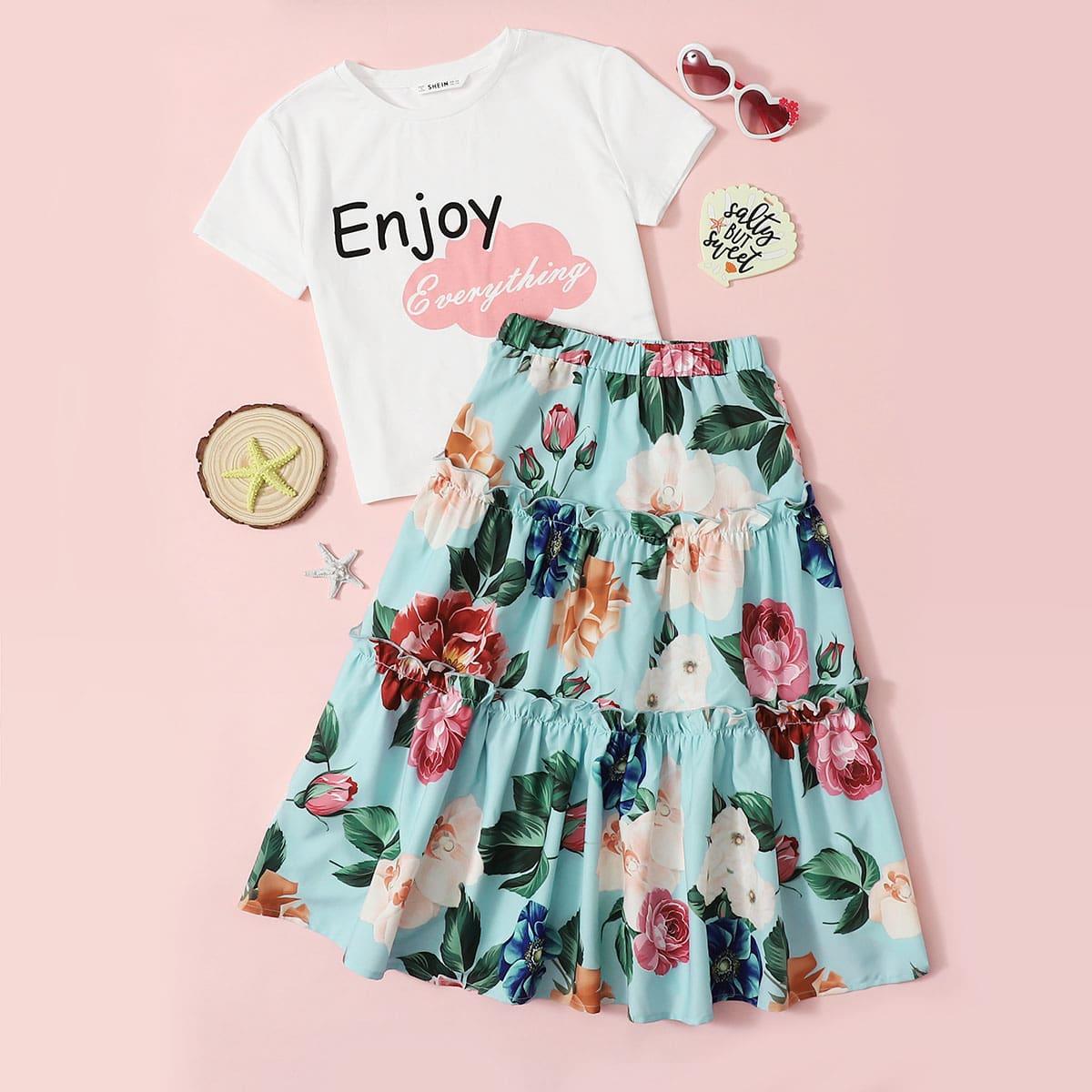 Girls Graphic Tee & Floral Print Ruffled Skirt Set