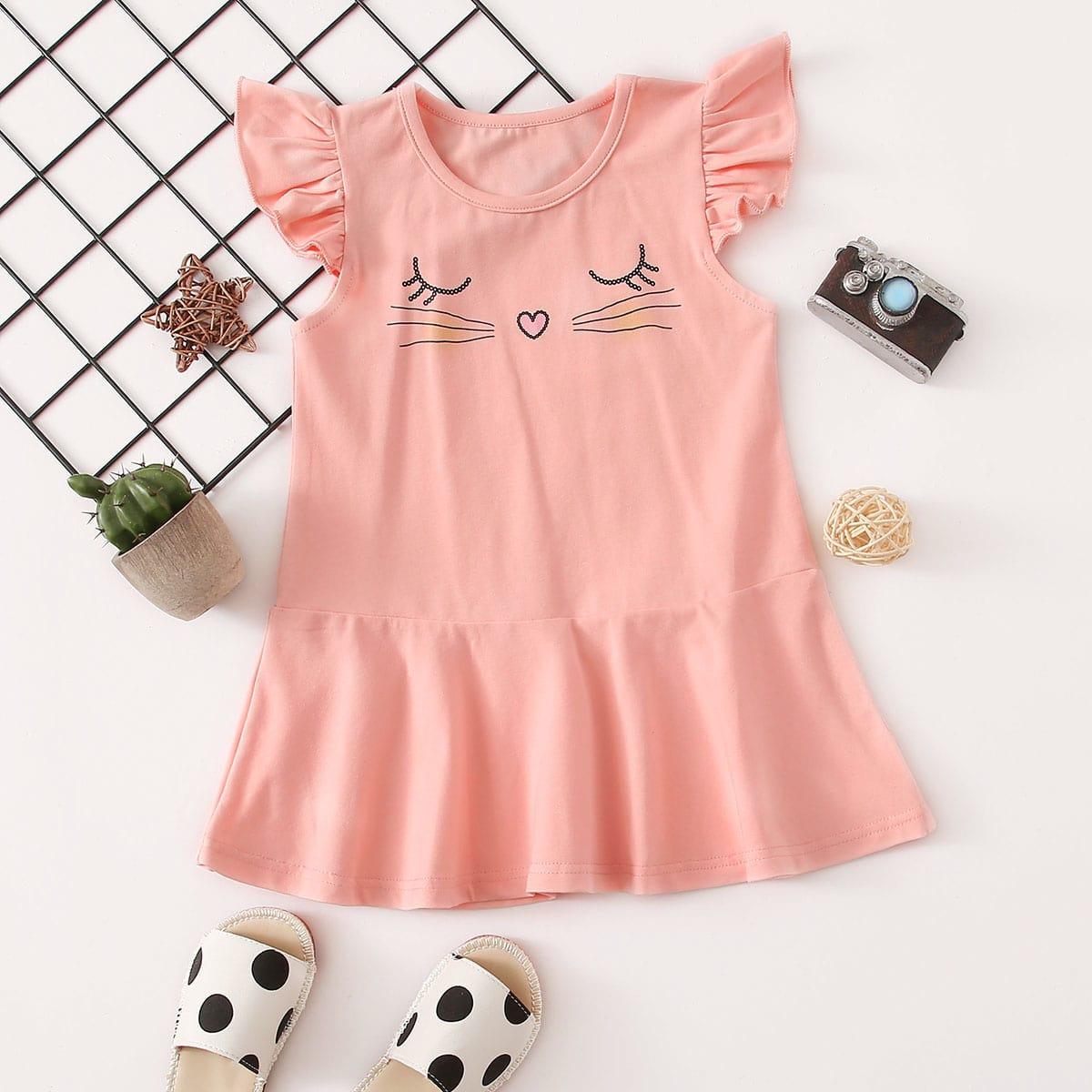 SHEIN Koraal roze Schattig Spotprent Baby-jurk Rimpeling