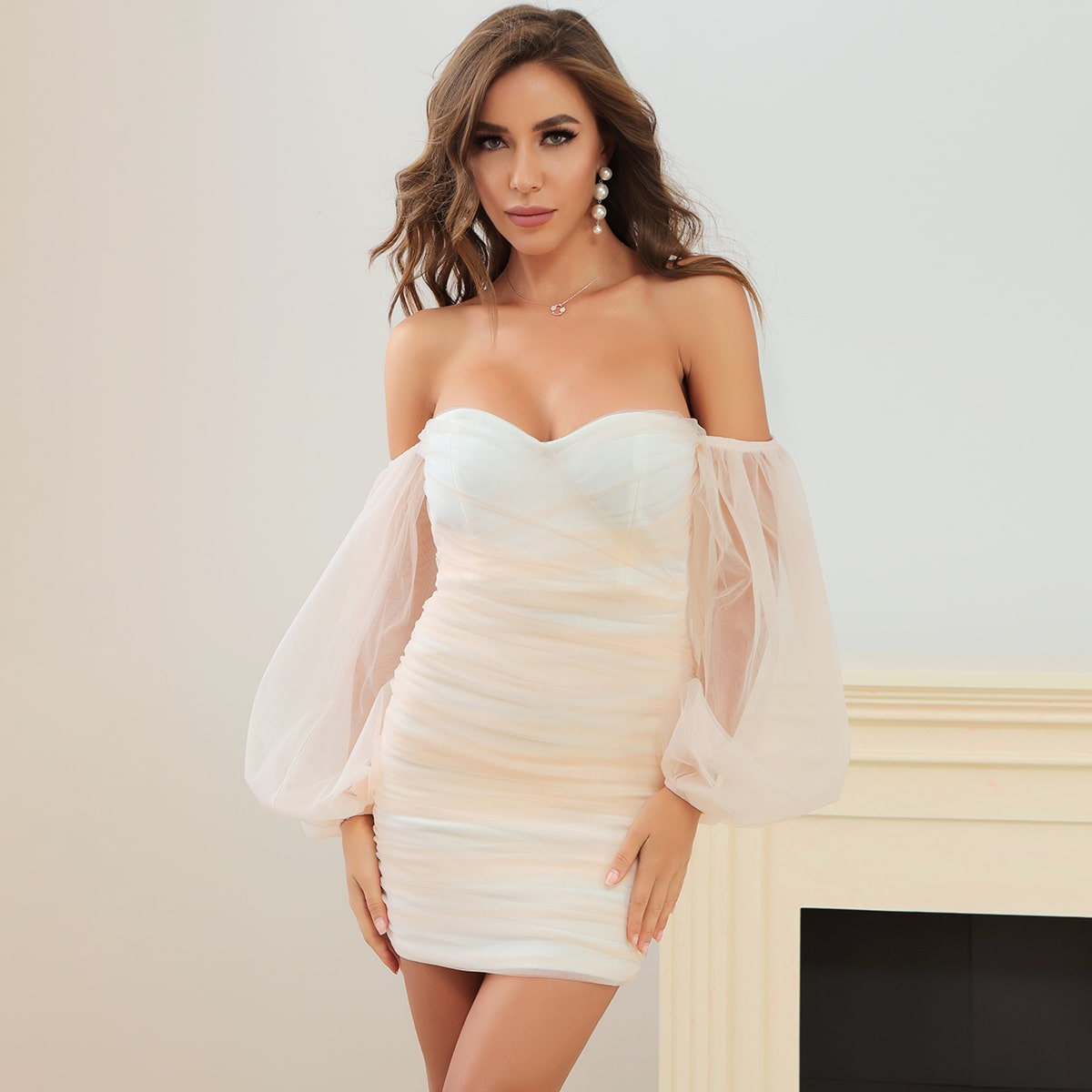 Lucra сетчатое платье с открытыми плечами
