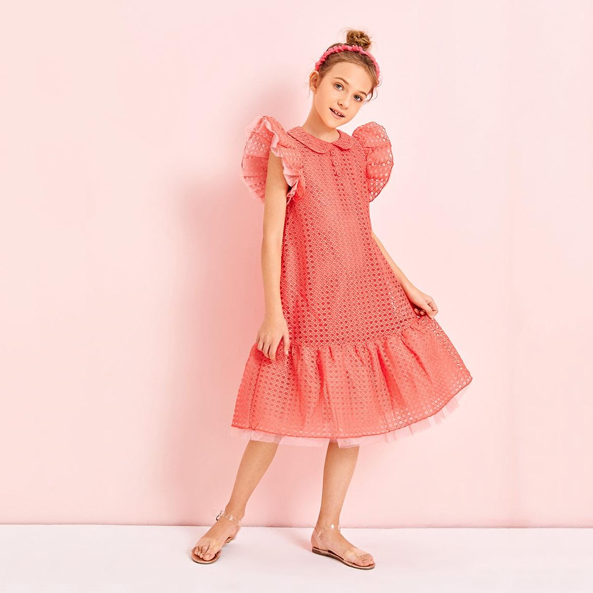 Сетчатое платье с пуговицами и оборками для девочек