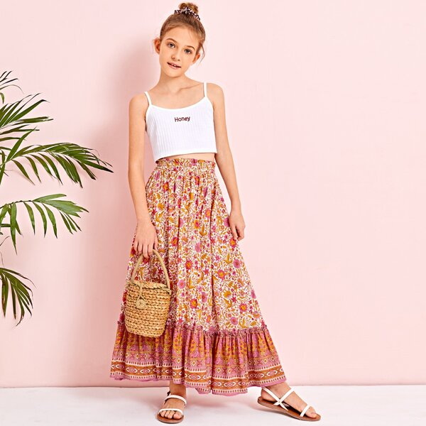 Girls Paperbag Waist Tribal and Floral Skirt, Multicolor