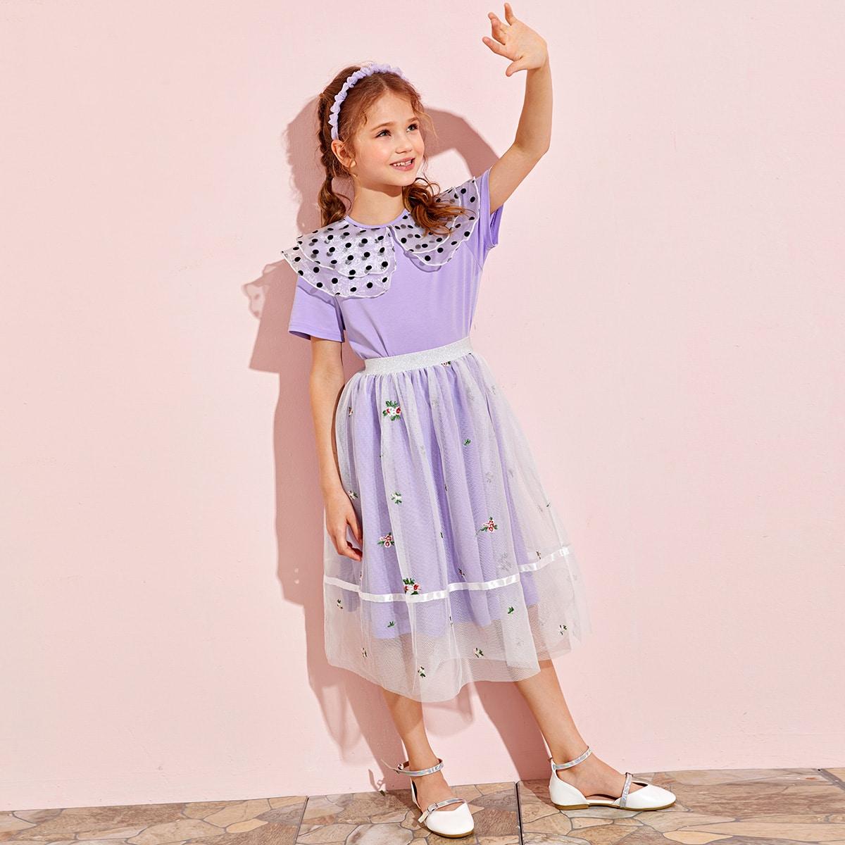 Топ в горошек и сетчатая юбка с цветочной вышивкой для девочек