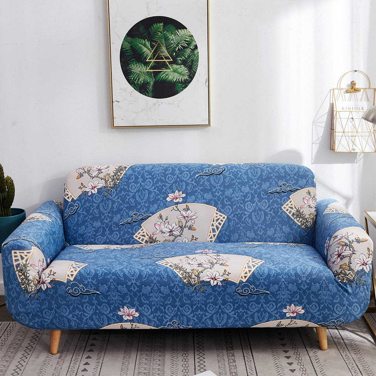 Damask Print Sofa Cover Without Cushion
