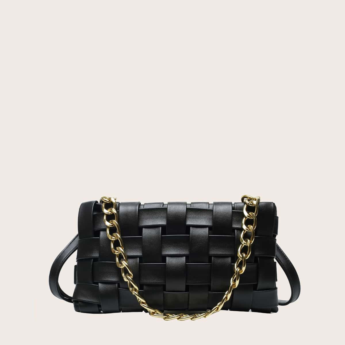 Модная сумка-багет с ручкой