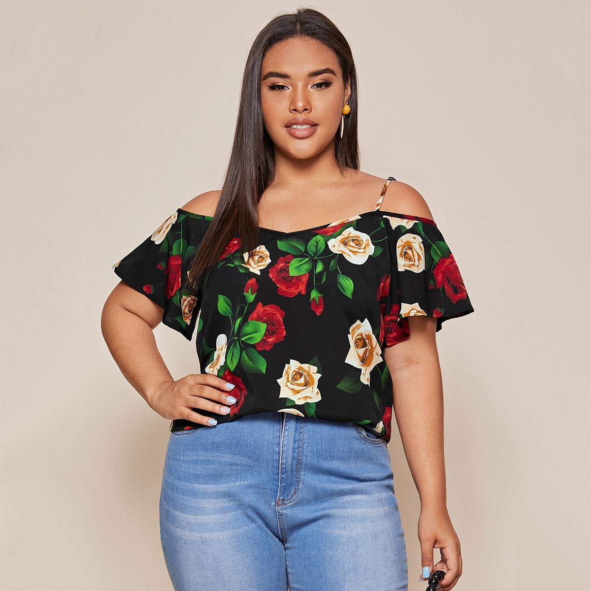 Блузка размера плюс с цветочным принтом
